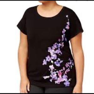 Ideology Purple Floral on Black Graphic T-Shirt